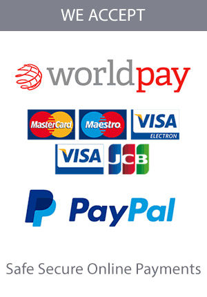 We accept WorldPay and PayPal